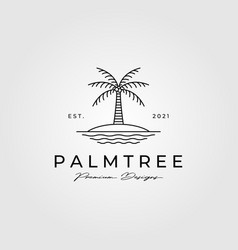 palm tree line art logo minimalist symbol design vector image