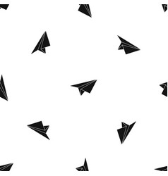 paper plane pattern seamless black vector image