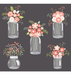 Pastel Flowers in Mason Jars vector image