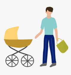 Paternity leave father with a pram vector