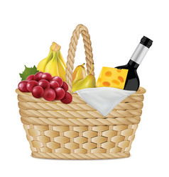 Picnic basket with bottle of wine grapes a vector