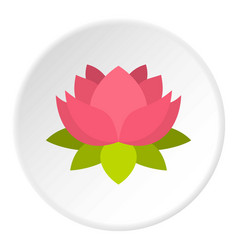 pink lotus flower icon circle vector image