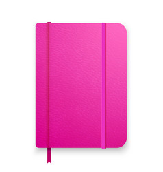 Realistic pink notebook with elastic band and vector
