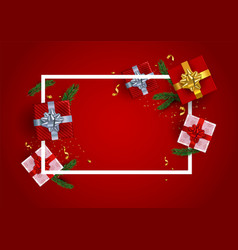 red christmas frame template with realistic gifts vector image