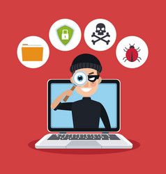 red color background laptop with espionage with vector image