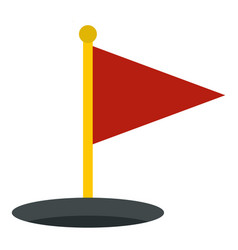 red golf flag icon isolated vector image