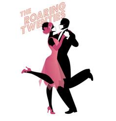 Roaring twenties couple dancing charleston vector