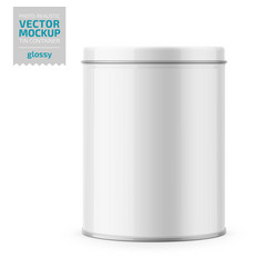 Round glossy tin can with lid template vector