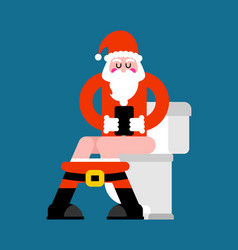 santa on toilet christmas grandfather is in wc vector image