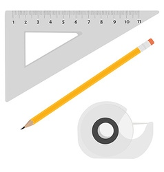 Scotch tape pencil and ruler vector