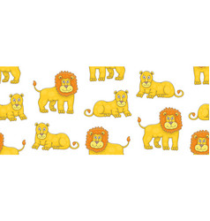 seamless pattern with lions and lionesses vector image