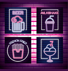 set drinks shop neon light label vector image