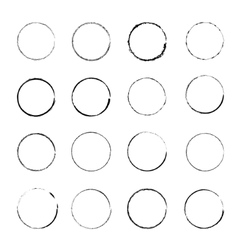 Set grunge circle stains vector