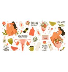 set menstruation period female uterus vector image