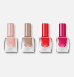 Set nail polish bottles colorful varnish vector