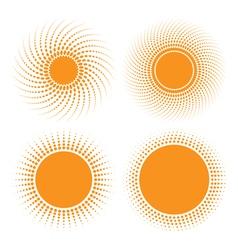 Set of Sun Halftone Design Elements vector