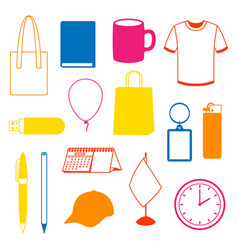 Set promotional gifts and advertising souvenirs vector
