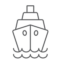 ship thin line icon cruise and sail boat sign vector image