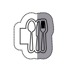 Silhouette emblem metal cutlery icon vector