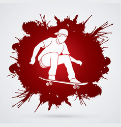 Skateboarder jumping man playing skateboard vector