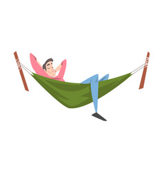 Smiling male lying in hammock and sleeping vector