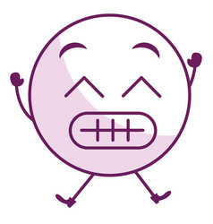 Sorry face emoticon kawaii character vector