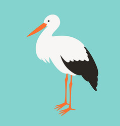 Stork stends flat style vector