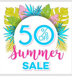 summer sale background with tropical palm leaves 4 vector image