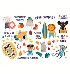 Summer set with cute animals vector