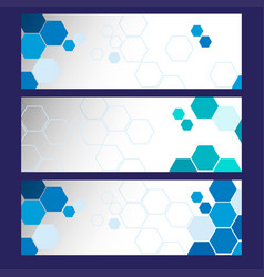 Three banner templates with blue hexagons vector
