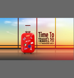 travel suitcases in airport terminal on sunshine vector image