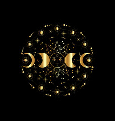 triple moon gold pagan wiccan goddess symbols vector image
