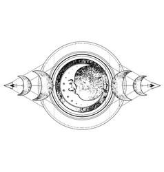 triple moon pagan wicca moon goddess symbol three vector image