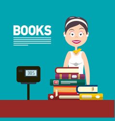 woman selling books in bookstore or in library vector image