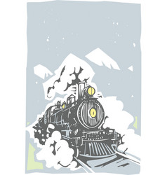 Woodcut locomotive color vector