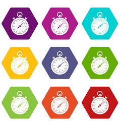 chronometer icon set color hexahedron vector image