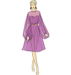 fashion sketch of woman in chiffon dress vector image