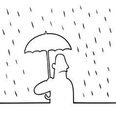 Man with umbrella in rain vector image