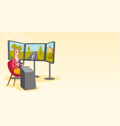 young woman playing video game with gaming wheel vector image