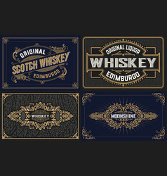 4 old cards for packing vector image vector image