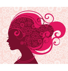 beautiful woman silhouette with flowers vector image