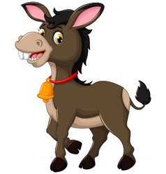 cute donkey cartoon walking vector image vector image
