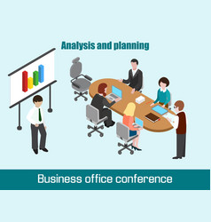flat 3d isometric business conference concept vector image vector image