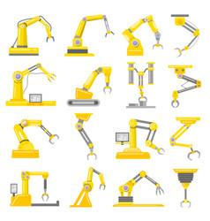 mechanical arm set vector image vector image