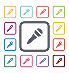 microfone flat icons set vector image