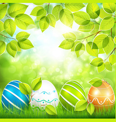 Natural background with Easter eggs vector image vector image