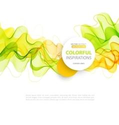 Orange and green wave line design vector image