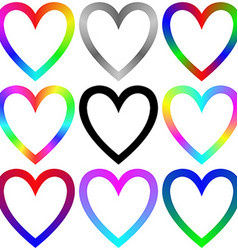 Rainbow gradient heart icon template set vector image vector image