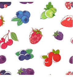 ripe berries on white background seamless pattern vector image