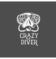 T-shirt print crazy diver vector